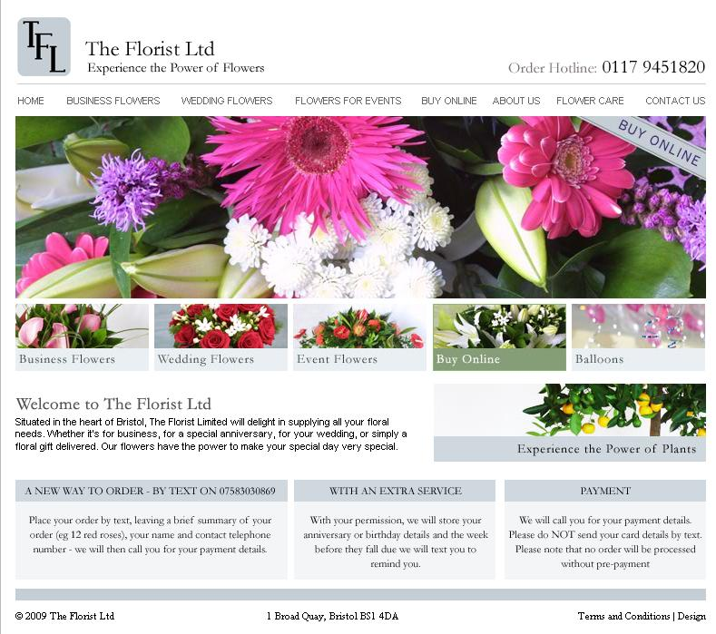 GWS Media's website for Bristol-based, The Florist Ltd