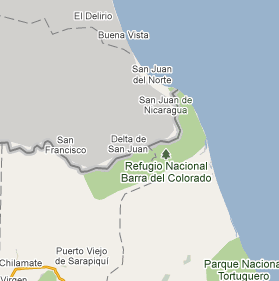 The disputed Cost Rican border in Google Maps